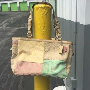 Coach Pastel Patchwork Tote Handbag Medium